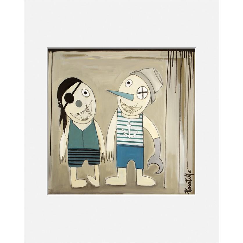 tableau d 39 art contemporain les 2 pirates de paratilla pour une d coration design. Black Bedroom Furniture Sets. Home Design Ideas