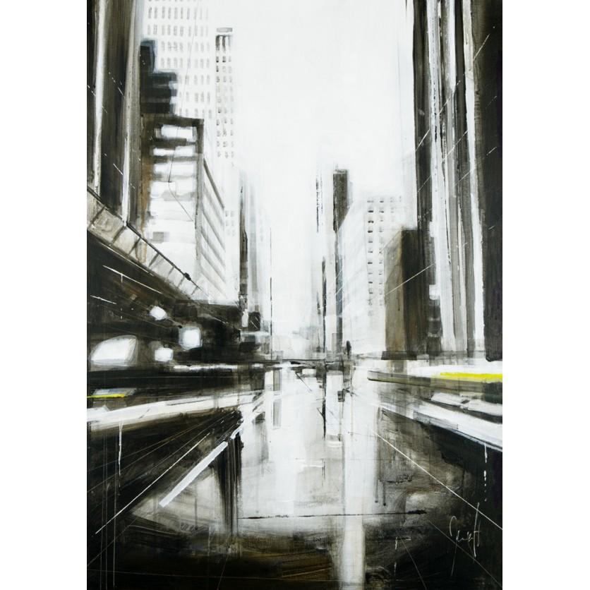 Tableau d 39 art contemporain perspective urbaine de for Tableau art contemporain design decoration